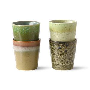 HKliving 70's ceramic coffee mugs spring green (set of 4)