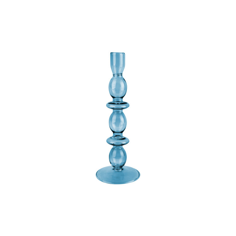 Present Time Present Time candlestick glass art bubbles BLUE