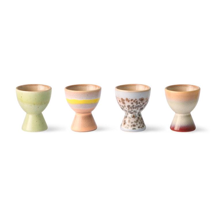 HKliving HKliving egg cups 70's ceramic (set of 4)