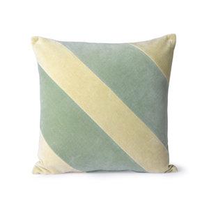 HKliving Striped cushion velvet Mint / Green (50x50)