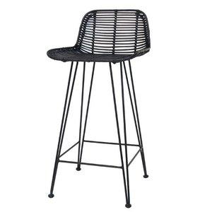 HKliving rattan bar stool black