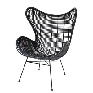 HKliving Chair Egg Rattan black