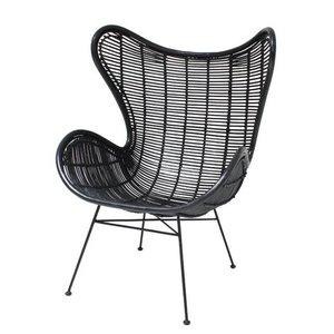 HKliving rattan egg chair black