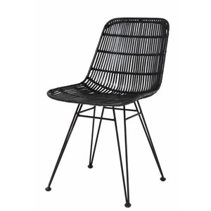 HKliving HKliving Dining Chair Rattan black
