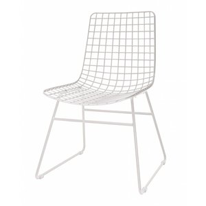 HKliving Wire Chair metal white Set of 2