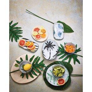 HKliving HKliving Porseleinen schaal 'palm' jungle