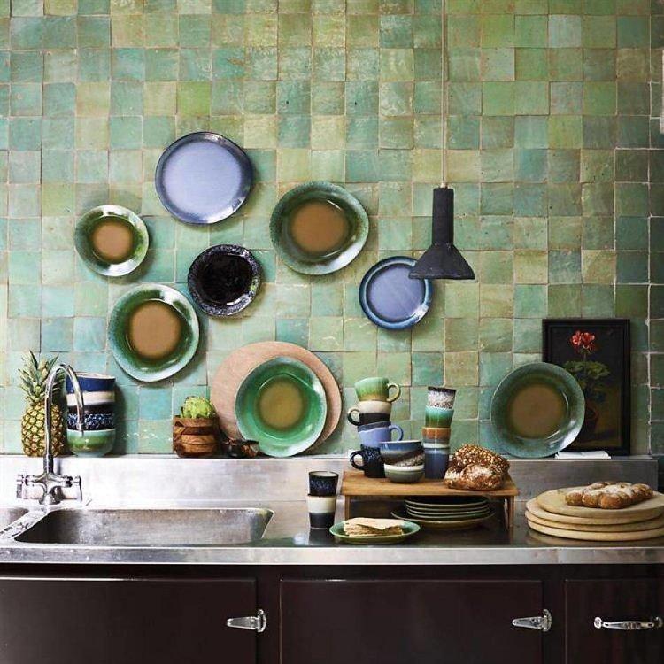 HKliving HKliving Kuchenteller 70's Keramik 'moss'