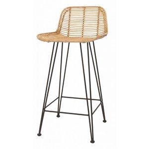 HKliving rattan bar stool natural