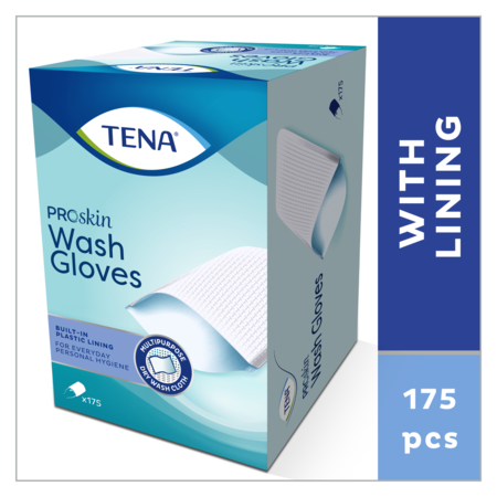 TENA ProSkin Wash Glove met plastic binnenzijde 1 doos à 175 stuks