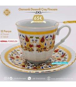 Güral Porselen I Semerkand Lale Yaldızlı I 6 Kişilik Kahve Fincanı