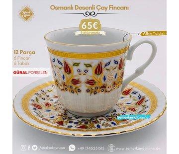 Semerkand Store Güral Porselen I Semerkand Lale Yaldızlı I 6 Kişilik Kahve Fincanı
