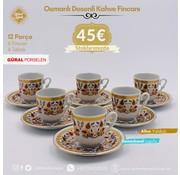 Semerkand Store Güral Porselen I Semerkand Lale Yaldızlı I 6 Kişilik Türk Kahve  Fincanı