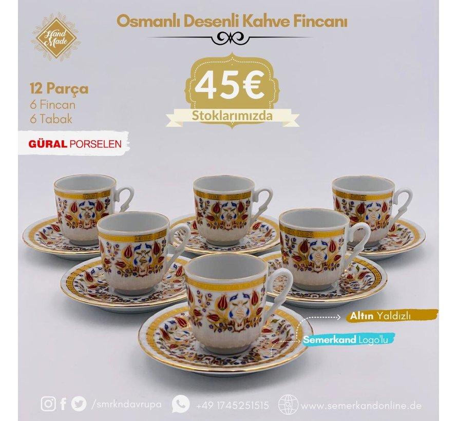 Güral Porselen I Semerkand Lale Yaldızlı I 6 Kişilik Türk Kahve  Fincanı