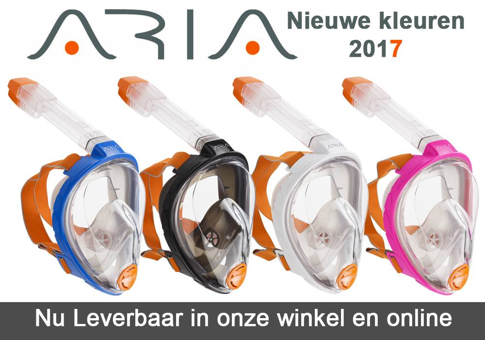 Aria snorkelmasker in een extra maat en 4 extra kleuren beschikbaar
