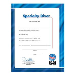 PADI Certificaat Specialty Diver