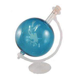 Glazen Globe in houder Duiker wit