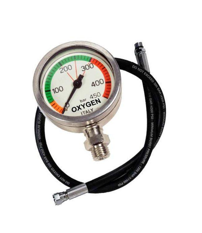 Manometer O2 clean 450 Bar met slang