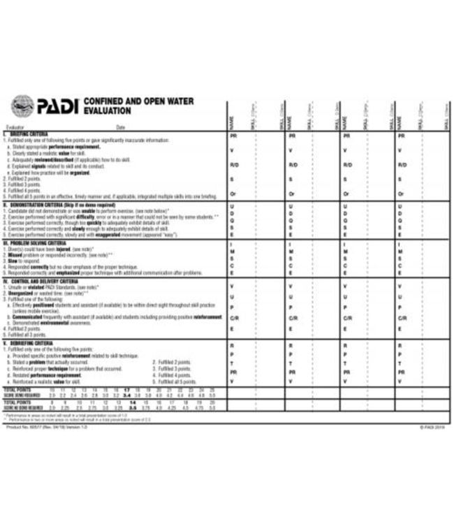 PADI CW en OW Evaluation Slate