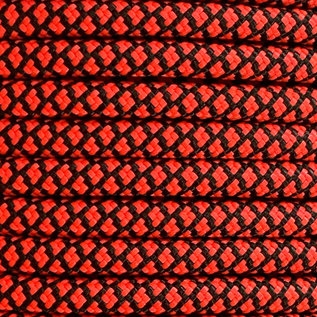 123Paracord 6MM PPM Touw Rood / Zwart Diamond
