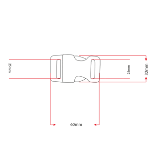 "123Paracord Alu-Max 25MM (1"") buckle Chrome"