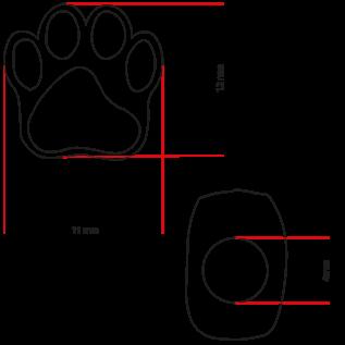 123Paracord Paracord kraal hondenpoot Zwart