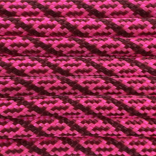 123Paracord Paracord 550 type III Ultra Neon Roze / Burgundy Helix DNA