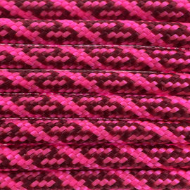 123Paracord Paracord 550 type III Burgundy & Ultra Neon Roze Helix