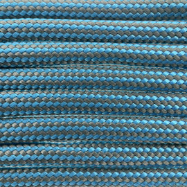 123Paracord Paracord 550 type III Cerulean Grijs Stripes