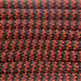 123Paracord Paracord 550 type III Rood Chili & Zwart Shockwave
