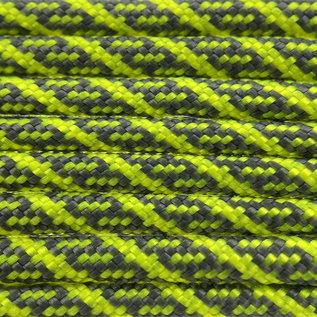 123Paracord Paracord 550 type III Charcoal Grijs / Neon Geel Helix DNA