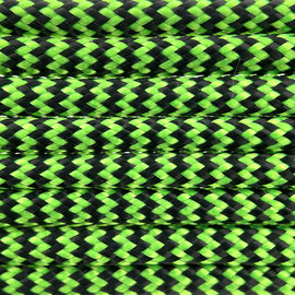 123Paracord Paracord 550 type III Ultra Neon groen & Zwart Shockwave