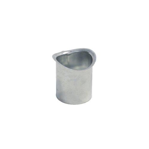 Zinken Tapeind voor mastgoot - Ovaal dia. 80 mm, ca. 9 cm past in buis dia. 80 mm