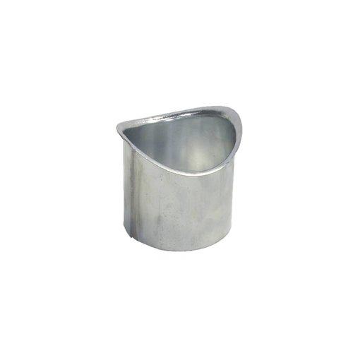 Zinken Tapeind voor mastgoot - Ovaal dia. 100 mm, ca. 9 cm past in buis dia. 100 mm