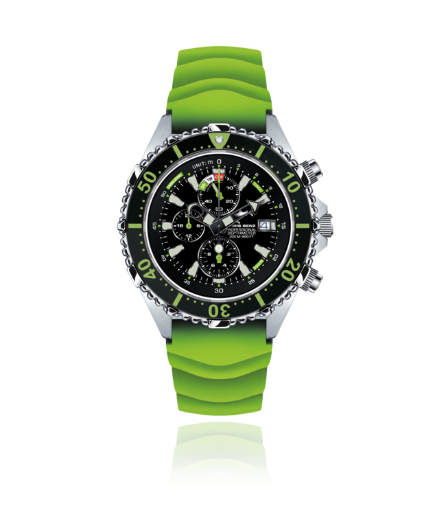 Chris Benz Watches Depthmeter Chronograph 300M - Caiman Green CB-C300-G-KBG