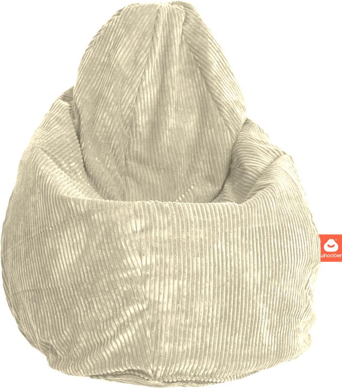 <h2>Comfortabele peervorm-zitzak in crème ribcord die in Nederland door Whoober wordt geproduceerd. Gratis verzending en 1 jaar garantie!</h2><h2>Belangrijkste eigenschappen vande Barca</h2><ul><li>Ook voor de zakelijke markt dankzij wasbare buitenhoes</