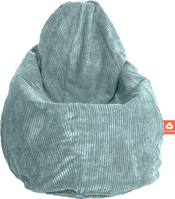 <h2>Comfortabele peervorm-zitzak in aqua blauwe ribcord die in Nederland door Whoober wordt geproduceerd. Gratis verzending en 1 jaar garantie!</h2><h2>Belangrijkste eigenschappen vande Barca</h2><ul><li>Ook voor de zakelijke markt dankzij wasbare buiten