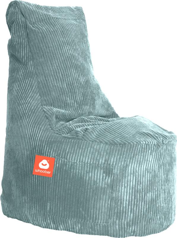 <h3>Comfortabele stoelvormige zitzak in aqua blauwe ribcord die in Nederland door Whoober wordt geproduceerd. Gratis verzending en 1 jaar garantie!</h3><h3>Belangrijkste eigenschappen vande Nice</h3><ul><li>Ook voor de zakelijke markt dankzij wasbare bui