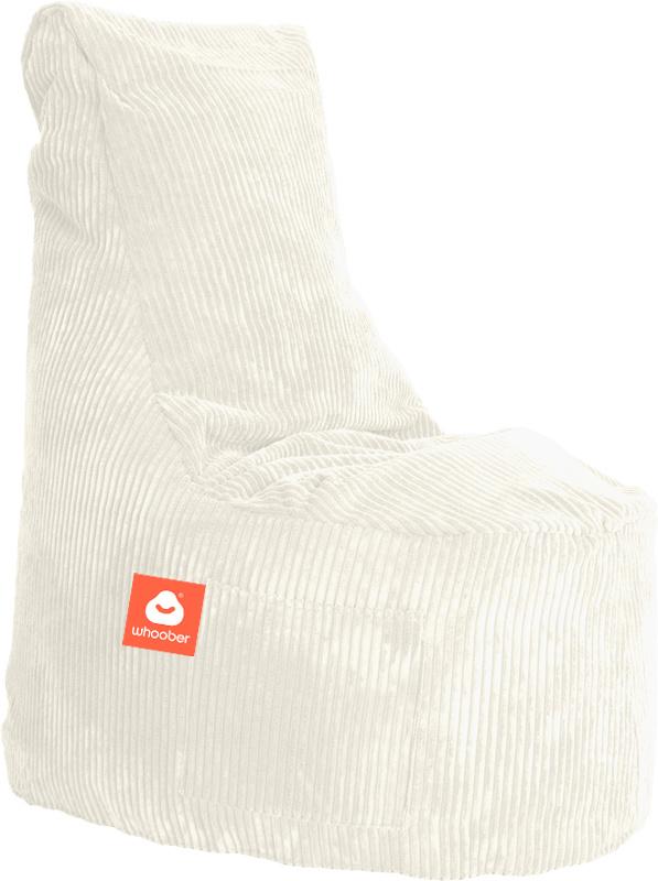 <h3>Comfortabele stoelvormige zitzak in witte ribcord die in Nederland door Whoober wordt geproduceerd. Gratis verzending en 1 jaar garantie!</h3><h3>Belangrijkste eigenschappen vande Nice</h3><ul><li>Ook voor de zakelijke markt dankzij wasbare buitenhoe