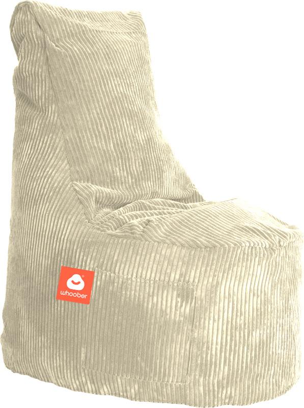 <h3>Comfortabele stoelvormige zitzak in crème ribcord die in Nederland door Whoober wordt geproduceerd. Gratis verzending en 1 jaar garantie!</h3><h3>Belangrijkste eigenschappen vande Nice</h3><ul><li>Ook voor de zakelijke markt dankzij wasbare buitenhoe