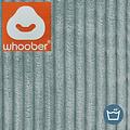 "Whoober Whoober Ronde Zitzak ""Ibiza"" L ribcord aqua blauw - Wasbaar - Zacht en comfortabel"