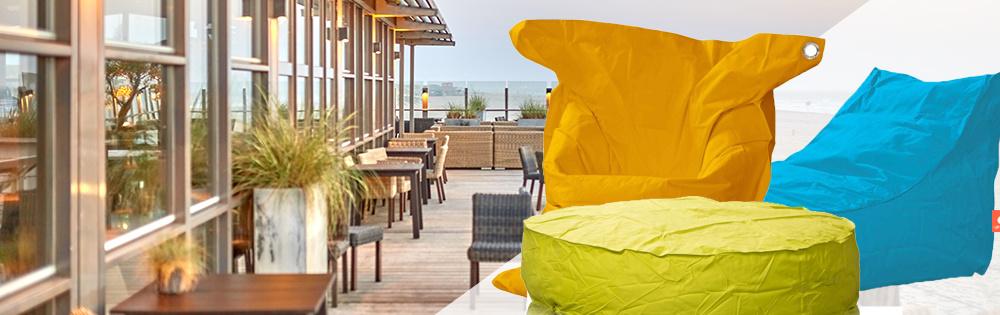 Zitzakken als horeca meubilair op terrassen