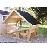 Garten Perfekt Gartenlaube COMFORT mit Schindeldach bedachte Sitzgarnitur aus Massivholz