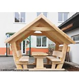 Garten Perfekt 1-teilige rustikale, bedachte Sitzgarnitur aus Massivholz bestehend aus 1 Tisch und 2 Sitzbänken