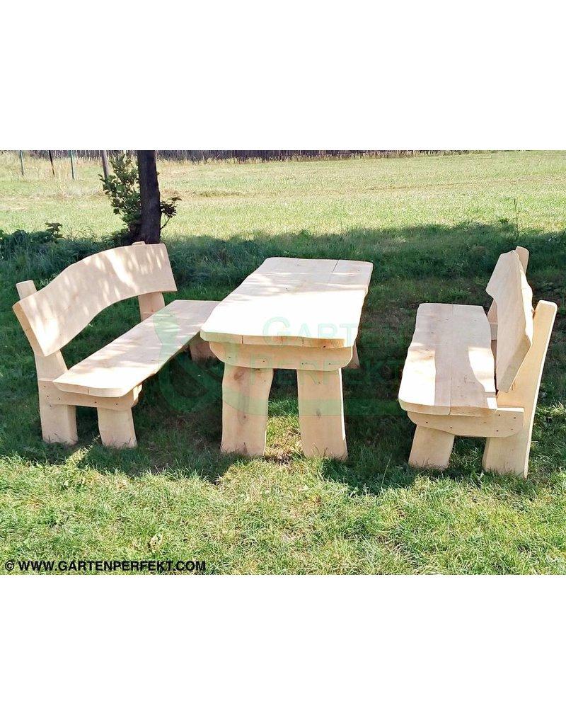 3 Teilige Rustikale Bedachte Sitzgarnitur Aus Massivholz Bestehend