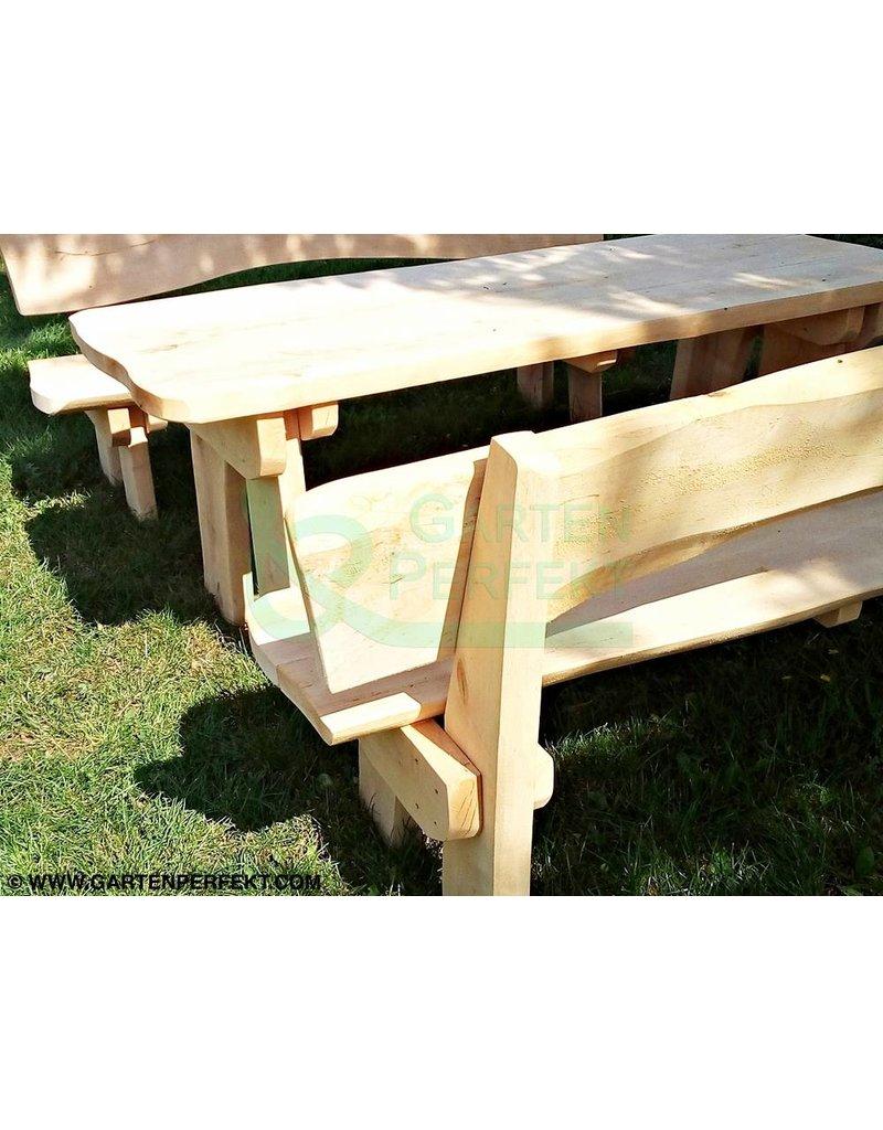Garten Perfekt 3-teilige rustikale Sitzgarnitur aus Massivholz bestehend aus 1 Tisch und 2 Sitzbänken
