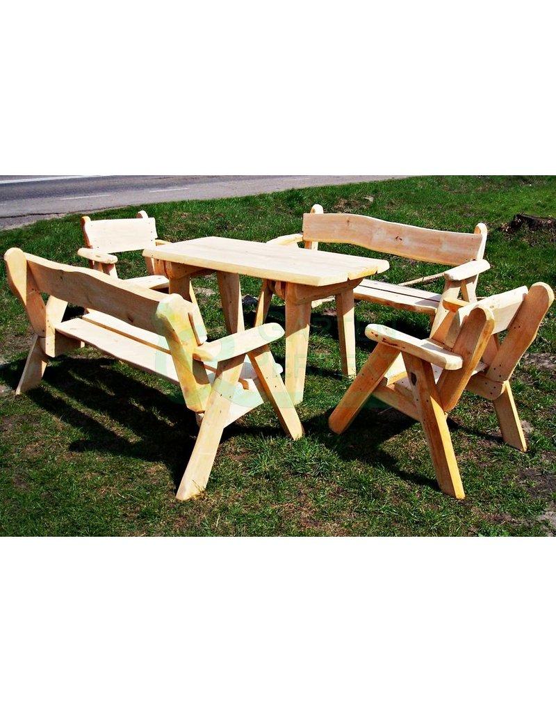 5 Teilige Rustikale Bedachte Sitzgarnitur Aus Massivholz Bestehend