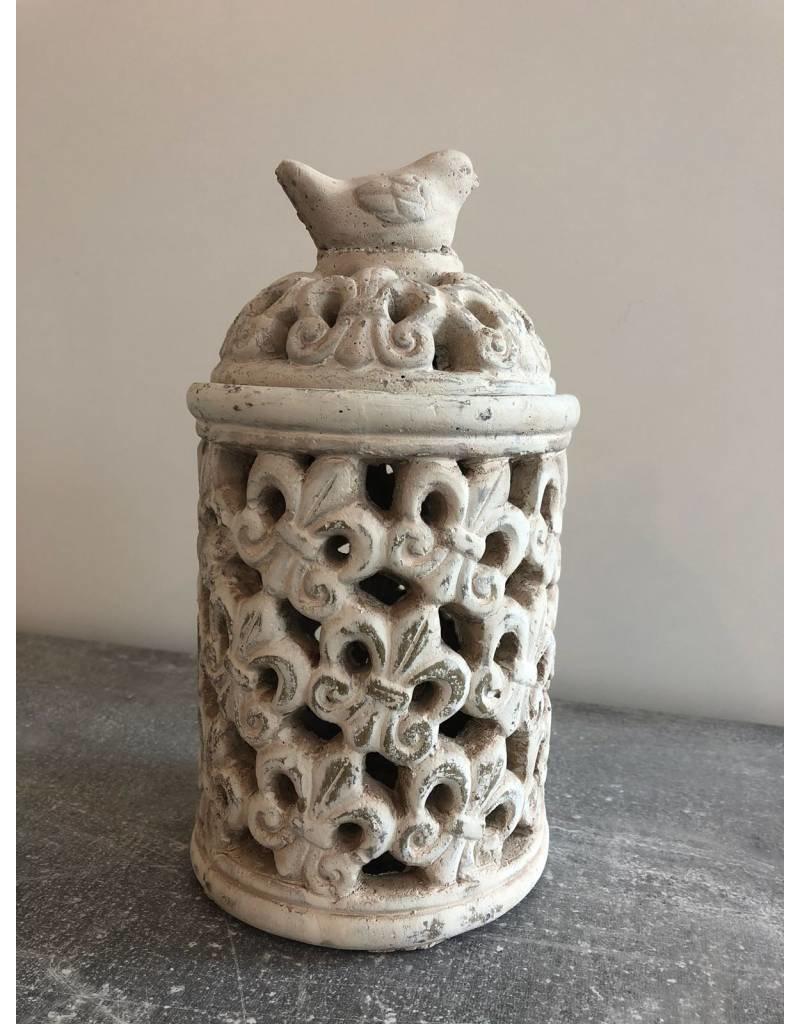 Garten Perfekt Laterne aus Zement mit Ornamenten PP-013