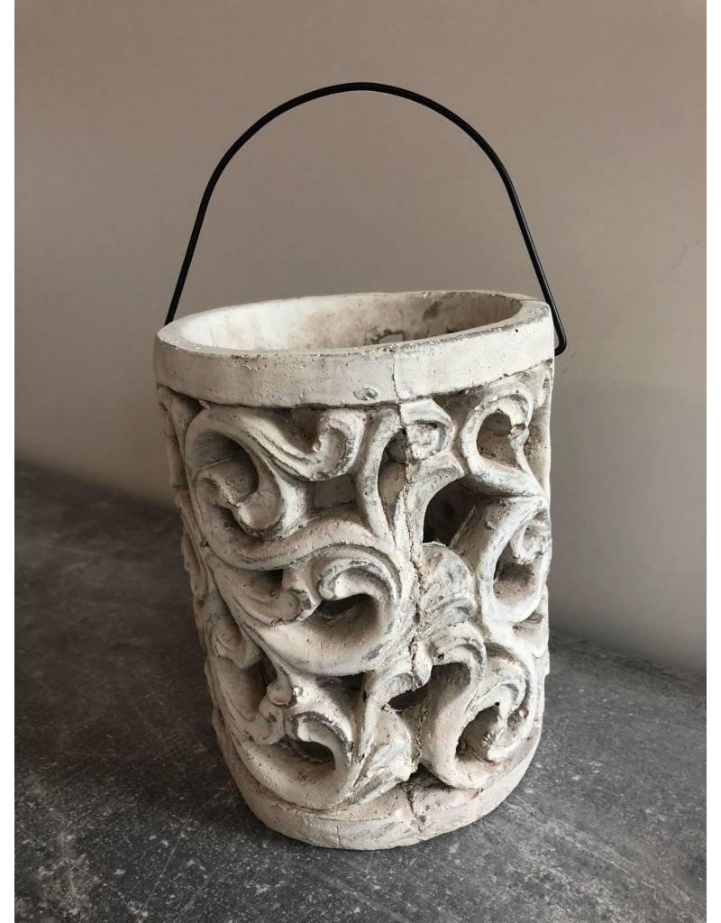 Garten Perfekt Laterne aus Zement mit Ornamenten PP-003
