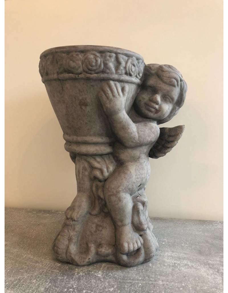 Garten Perfekt Deko Garten-Figur Engel mit Blumentopf aus Zement PP-014