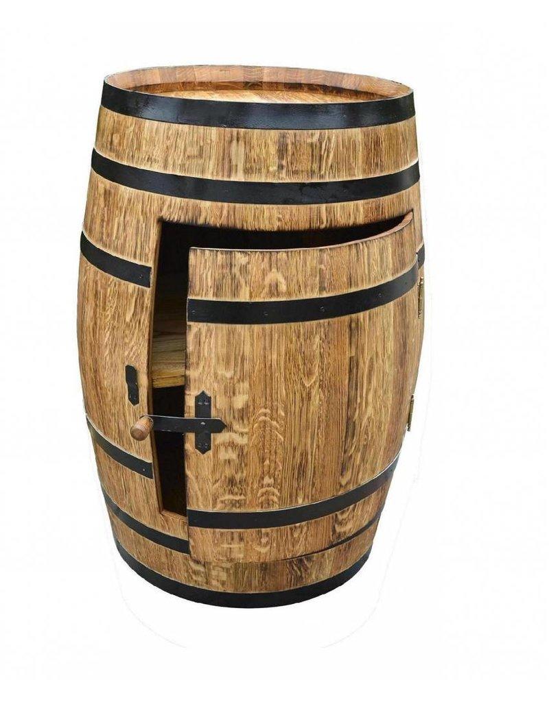 Garten Perfekt Fasskönigbar TREBBIANO 5 mit Tür aus massivem Eichenholz aus gebrauchtem Weinfass perfekt für Weinkeller, Vinothek